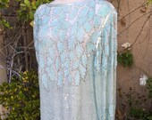 1980s seafoam green beaded sequined cocktail formal shift silk party dress size L