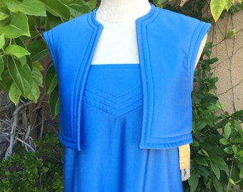 1970s 1980s deadstock Vanity Fair Collectibles rare quilted spaghetti dress with matching cropped vest size XS S
