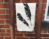Feathers Screen Printed Tea Towel, Kitchen Towel, Dish Towel