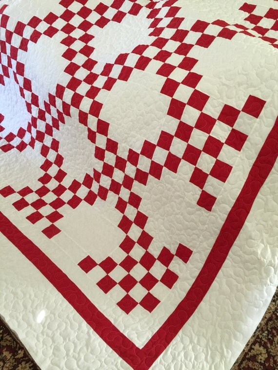 Quilt Double Irish Chain Red And White Quilt By