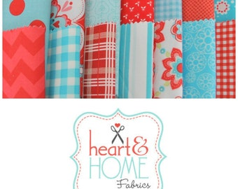 """Aqua and Red 5"""" Fabric Squares Charm Pack, 56 pieces, 100% cotton"""
