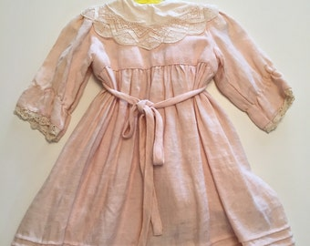 Doll Dress Infant Dress Pink and White  Paper White 1988 by Gatormom13