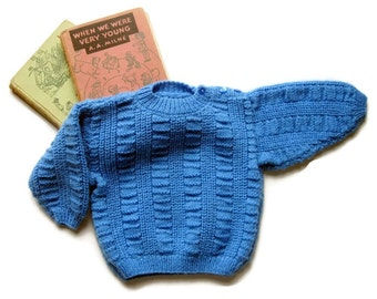 Blue Handknit Baby Pullover Sweater - Handmade and Vintage - 6 to 18 Months - Shoulder Buttons - CableKint