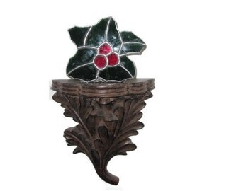 Stained Glass Tea Light Holder, Christmas Decor, Holly and Berries.
