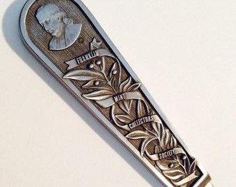 PEWTER Letter Opener --Portrait of Ben Franklin with Leaves and Berries, Original Box