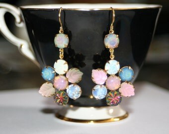 Retro charm mixed vintage glass crystal swarovski rockabilly victorian earrings