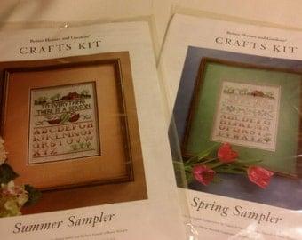 Set of Two Cross Stitch Sampler Kits, Better Homes and Gardens Kits, Spring Sampler, Summer Sampler, Quiltsy DeStash Party, Alphabet Sampler