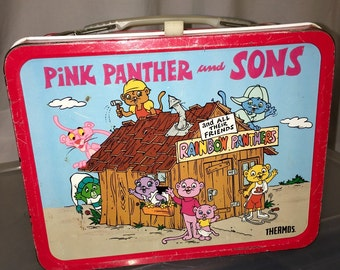 1984 Pink Panther and Sons Thermos metal lunch box lunchbox cartoon tv show RAD