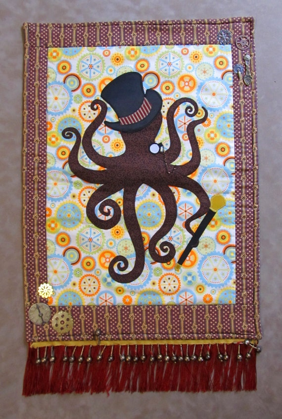 Items Similar To Embellished Steampunk Octopus Wall Quilt