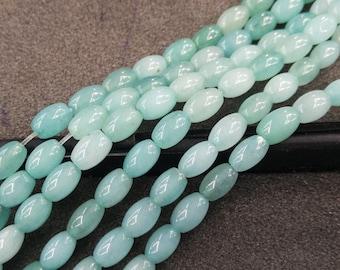 Blue Jade Oval Rice Natural Stone rice Beads 6x9mm -44pcs/Str