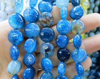 Royal Blue Agate round coin beads 12mm- 31pcs/strand
