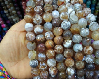 2 str -White Brown Agate 14mm Round ball beads -28pcs/strand