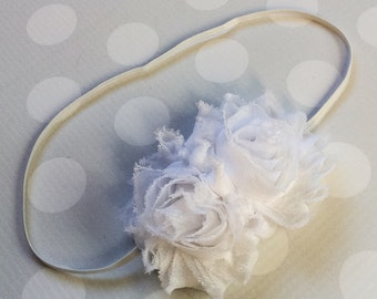 White Headband - Girls white Flower Headband -Baby Girl Headband - Baby Headbands - Headbands for Girls -  Headband - Hair Clip