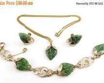 1950's Green Jadeite Jade Carved Leaves: Gold Filled Link Bracelet, Earrings & Pendant