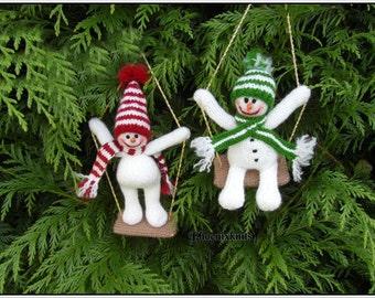 Swinging Snowmen PATTERN ONLY Immediate Download