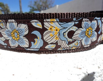 """Sale Large Dog Collar Blue Bells 1.5"""" width Quick Release or Martingale collar style adjustable"""