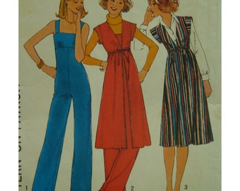 70s Shoulder Strap Jumpsuit Pattern, Fitted Bodice, Empire Waist, Cap Sleeve Tunic, Drawstring Empire Waist, Simplicity 8075 UNCUT Size 10
