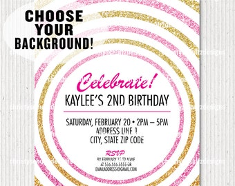 Custom Glitter Circles Party Invitation - Choose Your Background!