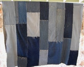 RESERVED Recycled Jeans Quilt Blanket Tablecloth 92 X 62 inches