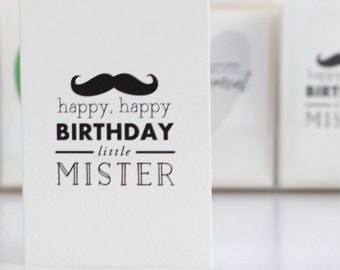 happy, happy birthday little mister / happy birthday mister card / moustache birthday card / birthday card / little mister card / little mr.