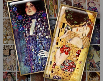 GUSTAV KLIMT Paintings 1x2 inch Domino size - Digital Printable collage sheet for Pendants Magnets Crafts...Art Nouveau Vienna Secessionist