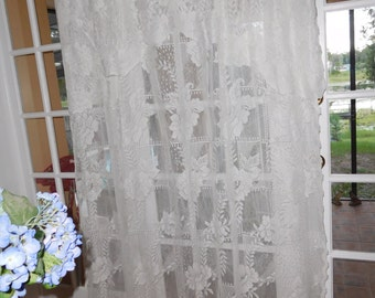 Free Shipping..Vintage Floral Design White Curtain Panel with Attached Valance 86 Long