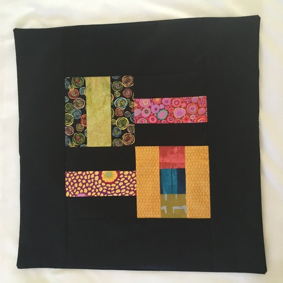 Colored Squares on Black Pillow Cover 20 x 20