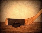 Hockey Print - Boys Room Decor - Hockey Art - Hockey Photo Print - Fine Art Photograph - Vintage Hockey Stick - Hockey Puck