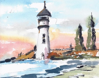 Original Watercolor  Painting Watercolor and Ink Lighthouse Landscape Painting Ocean Art