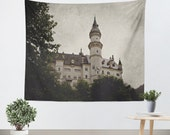 Art Wall Tapestry Neuschwanstein Castle Modern photography Unique Wall Hanging home decor grey gray photo Gothic Black photograph Germany