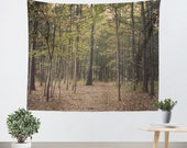 Forest Tapestry Wall Hanging In the Woods 1 Modern Photography Unique home decor forest green trees brown branches mother nature earth tones