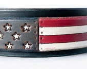 American Flag Dog Collar 4th of July dog collar red white blue leather dog collar USA made Custom Tooled Leather Dog Collar pitbull collar