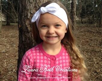 White Knot Jersey Headband, Baby Knot Headband, Infant Headband, Jersey Knit Headwrap, Turban Headband,Girl's Headband,Toddler Headwrap