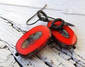 Bohemian Dangles, Scarlet Earrings, Czech Picasso Glass, Deep Red Rustic Ovals, Black Brass, Boho Chic, Large Table Cut, Earthy Earrings