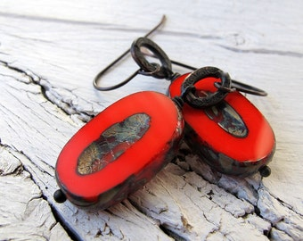 Bohemian Dangles, Scarlet Earrings, Czech Picasso Glass, Deep Red Rustic Ovals, Black Brass, Boho Chic, Large Table Cut, Earthy Earrings