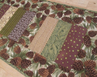 Quilted Winter Pine Cone Extra Long Table Runner