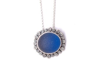 Deep Blue Flower - English Sea Glass and Sterling Silver Necklace