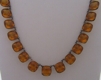 Vintage 1930s Amber Glass Faceted Cushion Cut Necklace