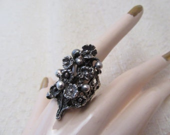 1970's Floral Sterling Ring