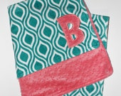 PERSONALIZED Teal and Coral DOUBLE MINKY Baby Blanket or Lovey - Oceano