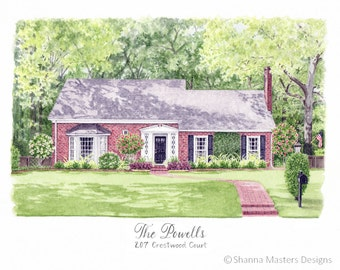 8X10 Custom Watercolor Rendering Illustration Home Wedding Venue