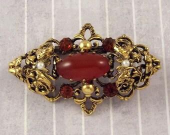 Vintage Austria Simulated Carnelian Pin, Imitation Stone Brooch, Elegant Mid Century Jewelry