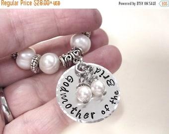 SALE Godmother of the Bride Pearl Bracelet, MOB Wedding Bracelet, Godmother of the Groom Jewelry, MOG Bracelet, Rustic Bride