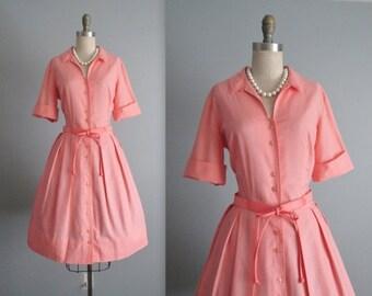 STOREWIDE SALE 60's Shirtwaist Dress // Vintage 1960's Peach Cotton Full Pleated Garden Party Picnic Shirtwaist Dress L