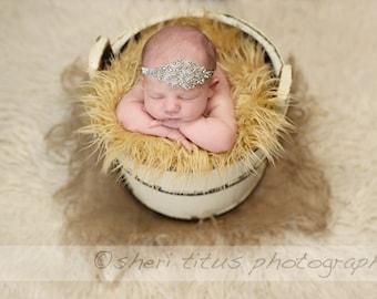 Silver Rhinestone Newborn Headband  - Baby Headband - Newborn Headband - Rhinestone Applique Headband - Baptism - Flower Girl