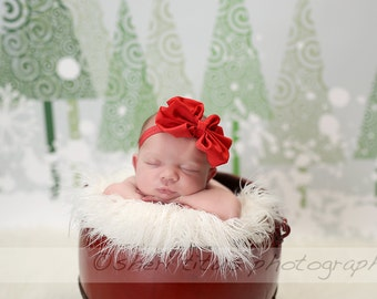 Red Large Bow Headband - Red Big Baby Bow Headband - Big Bow Newborn Headband - Messy Bow Headband