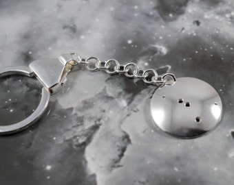 Silver Cancer keyring: The constellation of Cancer on a sterling silver keychain