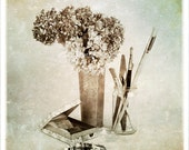 Still life photograph, For the Painter, flower photography, blue brown, painter gifts, large wall art
