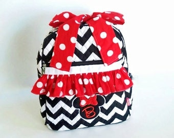 Backpacks, Back to School, Girls Backpack, School Bag, Monogrammed Backpack, Personalized Bag, Book Bag, School Supplies, Minnie Mouse