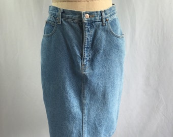Vintage Denim Jean Skirt by awesome 80's denim brand SOS, High Waist Mini Style